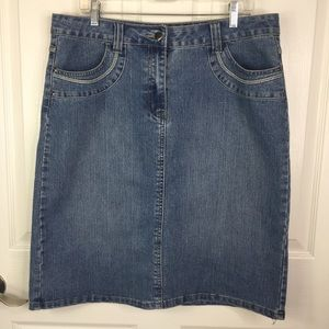 Christopher & Banks Denim Jean Skirt Midi Sz 14